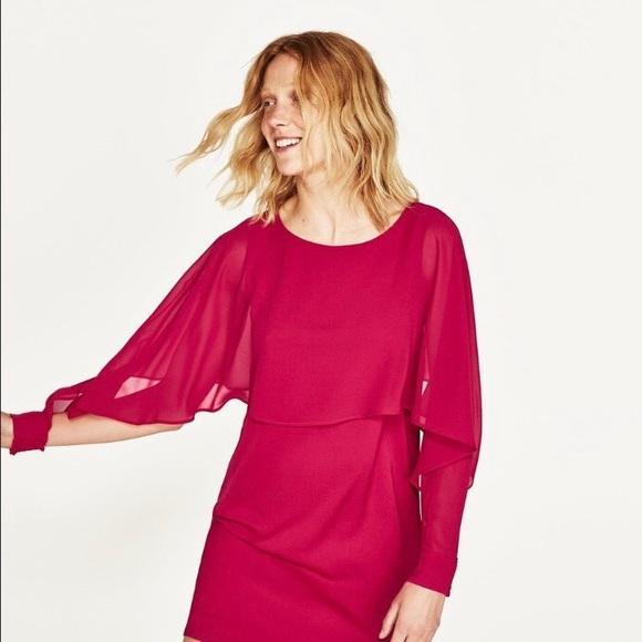 d908a6d6 Zara Dresses | Doublelayer Flowing Dress In Fuschia Sz S | Poshmark